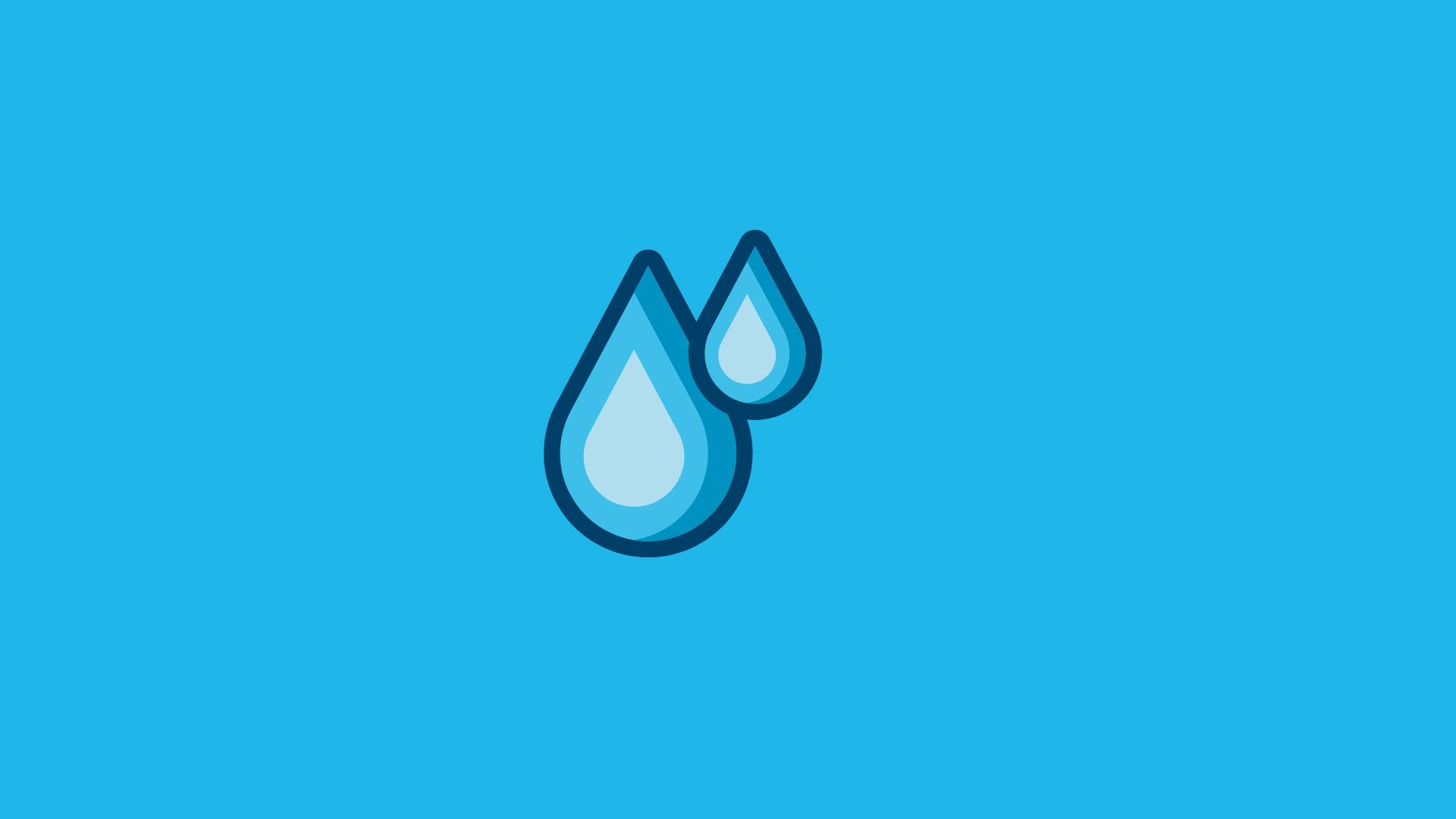 En teckning av två blåa regndroppar